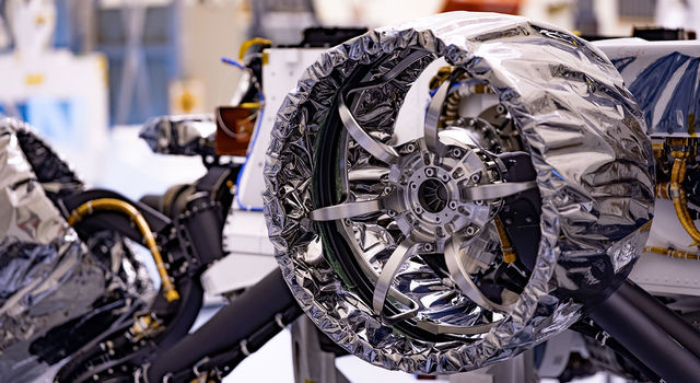 This wheel, and five others just like it, is headed to Mars on NASA's Perseverance rover