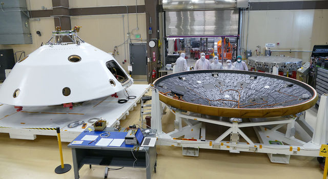 MEDLI2 sensors are installed on the Mars 2020 heat shield and back shell prior that will protect NASA's Perseverance rover on its journey to the surface of Mars