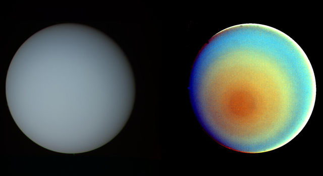 The false-color and contrast-enhanced image of Uranus at right reveals