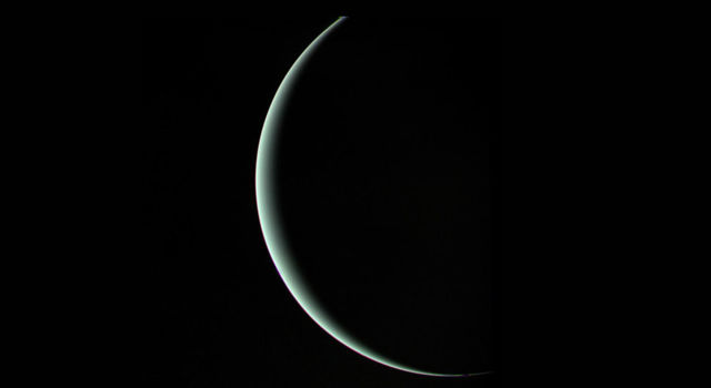 Voyager 2 captured this moody parting shot of Uranus