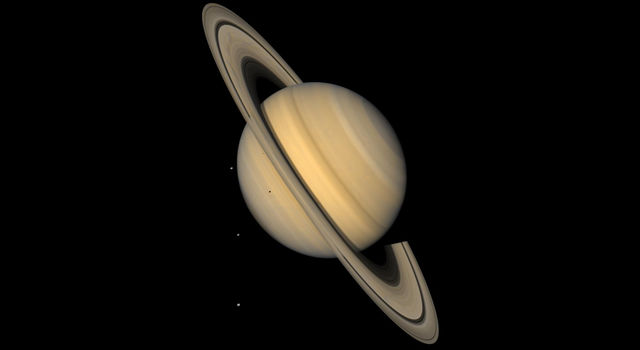 Saturn and 4 Icy Moons in Natural Color