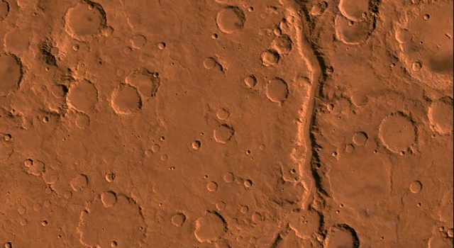 Gusev Crater can be seen at the top of this Viking image.