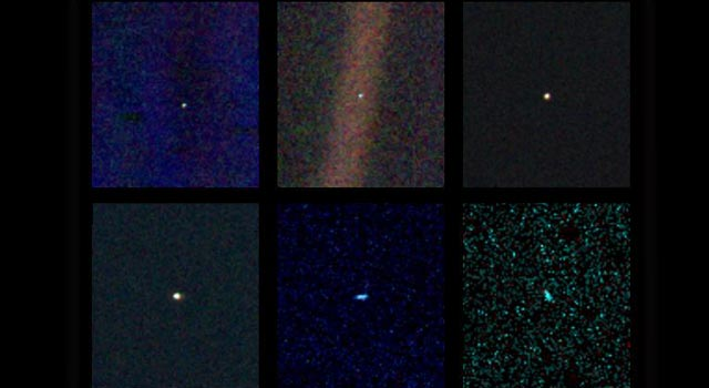 six narrow-angle color images taken from Voyager 1