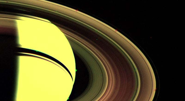 Voyager 2's view back toward Saturn