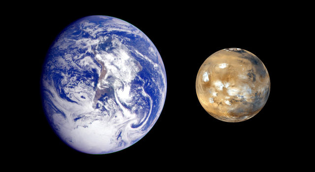 Composite image of Earth and Mars