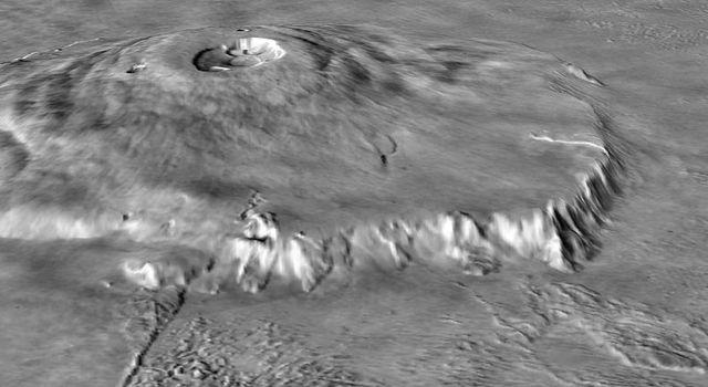Olympus Mons, observed by Mars Global Surveyor