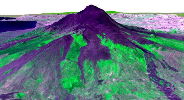 Mt. Etna, imaged by the Shuttle Radar Topography Mission