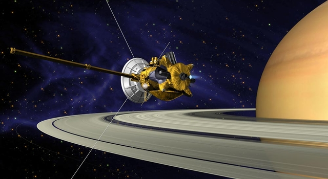 Artist's concept of Cassini at Saturn.