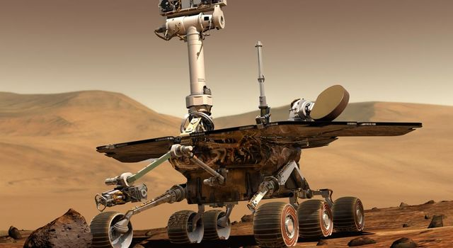 Artist's concept of the Mars Exploration Rover on Mars.