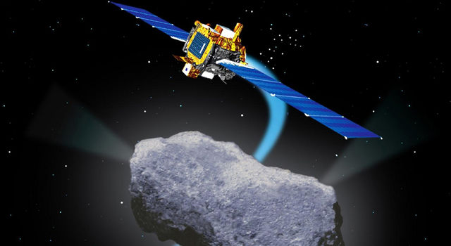 Artist's Concept of Deep Space 1 Encounter with Comet Borrelly