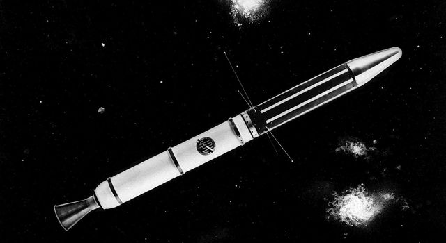 A vintage JPL graphic celebrating the Explorer 1 satellite