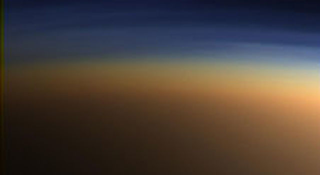 Natural color image shows Titan's upper atmosphere
