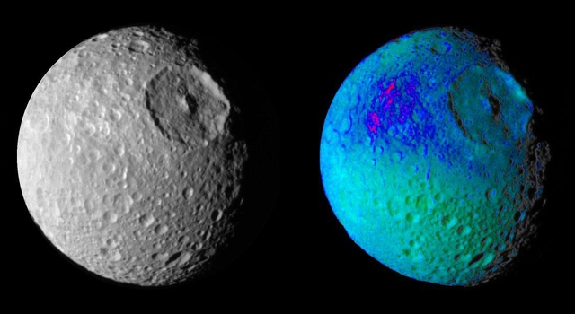 False color images of Saturn's moon, Mimas
