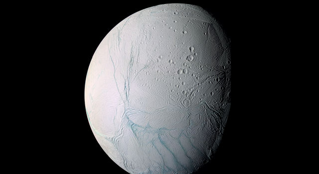 This enhanced-color Cassini view of southern latitudes on Enceladus