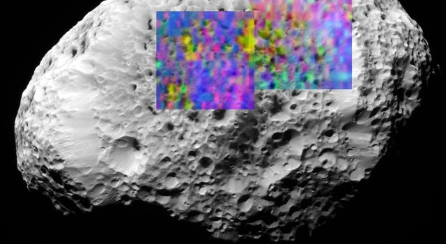 new color map shows the composition of a portion of Hyperion's surface