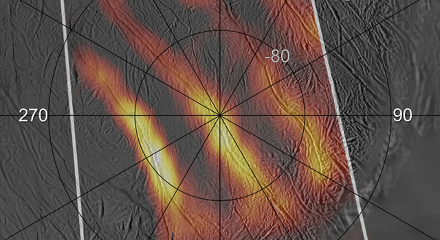 annotated heat map of active south polar region of enceladus