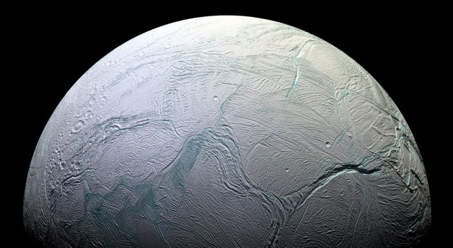 Cassini captured this view of Enceladus' active south polar region in Oct. 2008