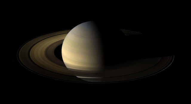 The planet Saturn, viewed by NASA's Cassini spacecraft during its 2009 equinox.