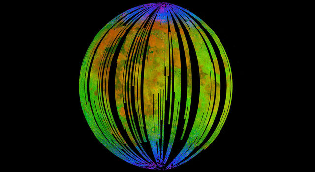 The blue areas in this composite image show water concentrated at the Moon's poles