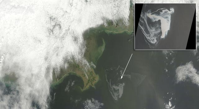 Satellite image of oil spill in the Gulf of Mexico