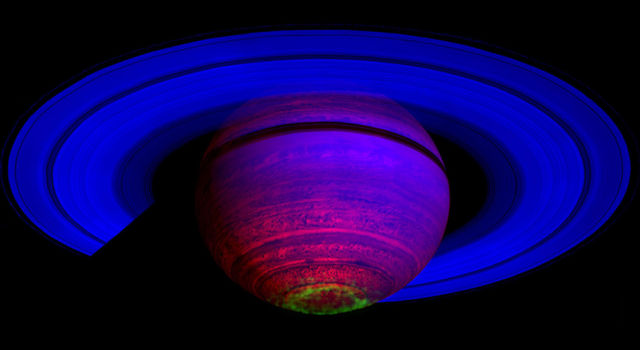 False-color composite image of Saturn