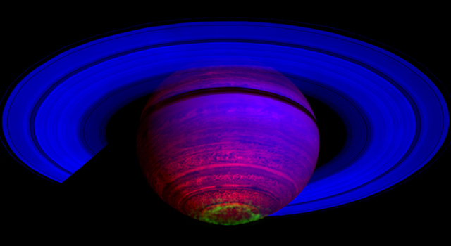 This false-color composite image, constructed from data obtained by NASA's Cassini spacecraft.