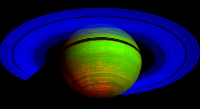 Majestic Saturn, in the Infrared