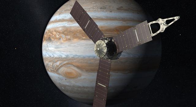 Imagen conceptual de Juno frente a Júpiter.