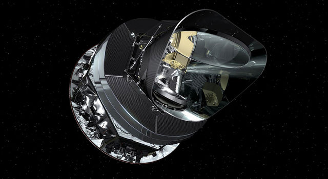 An artist's concept of the Planck spacecraft.