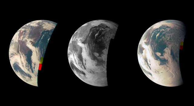 Earth Triptych from NASA's Juno Spacecraft