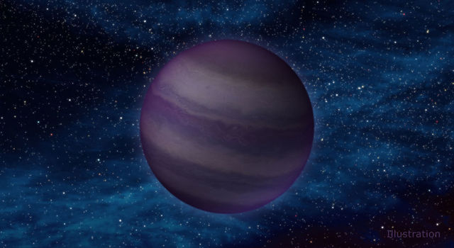 Artist's concept illustrates a close-up view of a cool brown dwarf