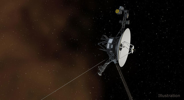 This artist's concept depicts one of NASA's Voyager spacecraft entering interstellar space