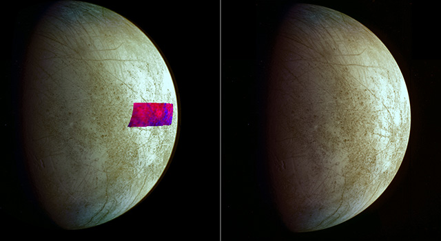 This image, using data from NASA's Galileo mission, shows the first detection of clay-like minerals on the surface of Jupiter's moon Europa