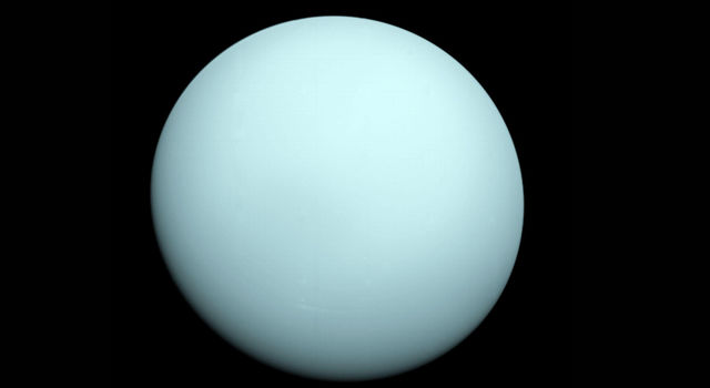 Arriving at Uranus in 1986, Voyager 2 observed a bluish orb