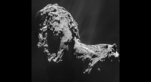 This composite is a mosaic comprising four individual NAVCAM images from the center of comet 67P/Churyumov-Gerasimenko on Nov. 20, 2014