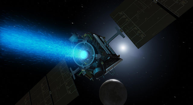 This artist's concept shows NASA's Dawn spacecraft as it appeared arriving at the dwarf planet Ceres in 2015. Dawn's ion propulsion, seen here, has since been turned off, as Dawn prepares to end its mission this fall.