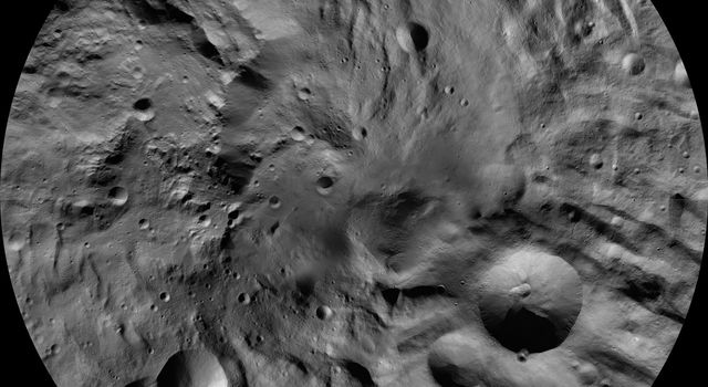 This image from the atlas of the giant asteroid Vesta was created from images taken as NASA's Dawn spacecraft flew around the protoplanet.