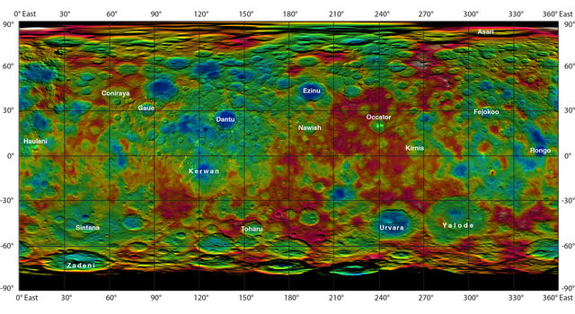 Color-coded map from NASA's Dawn mission