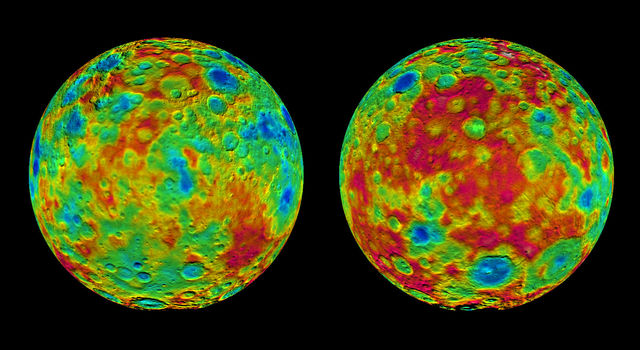 This pair of images shows color-coded maps from NASA's Dawn mission