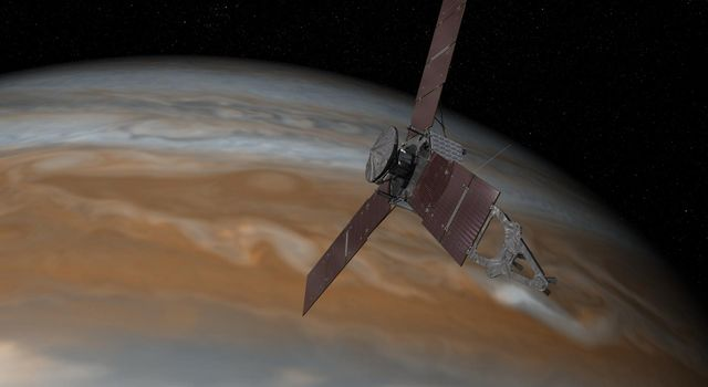 Artist's illustration of Juno near Jupiter