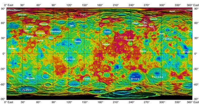 Topographic Ceres Map with Feature Names II