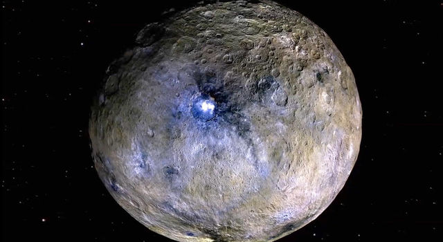 This false-color image of Ceres highlights differences in surface materials.
