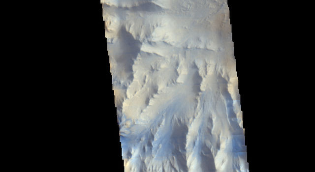 Mars Odyssey View of Morning Clouds in Canyon