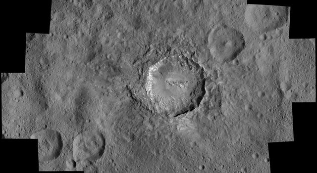 NASA's Dawn spacecraft took images of Haulani Crater at a distance of 240 miles (385 kilometers) from the surface of Ceres.