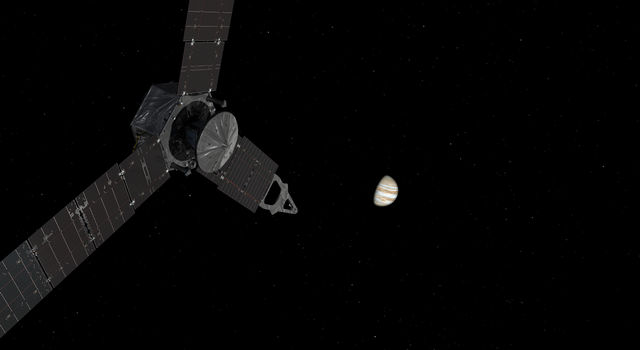This illustration depicts NASA's Juno spacecraft approaching Jupiter