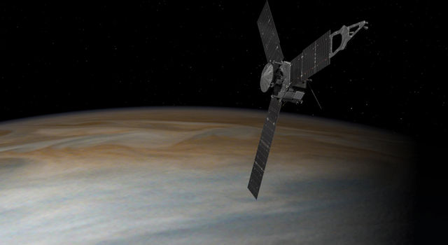 This artist's concept depicts the Juno spacecraft above Jupiter.