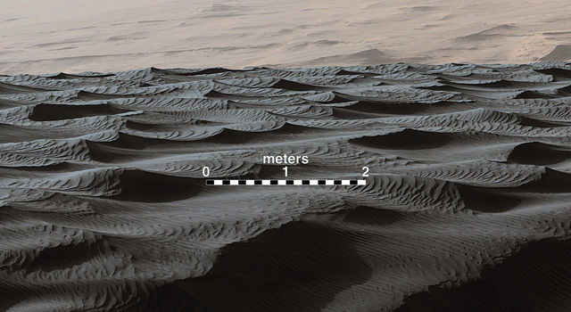 Two Sizes of Ripples on Surface of Martian Sand Dune