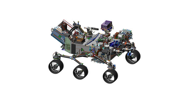 This 2016 image comes from computer-assisted-design work on NASA's 2020 Mars rover.