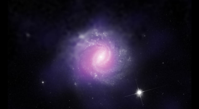 This galaxy, called IC 3639, also contains an example of an obscured supermassive black hole.