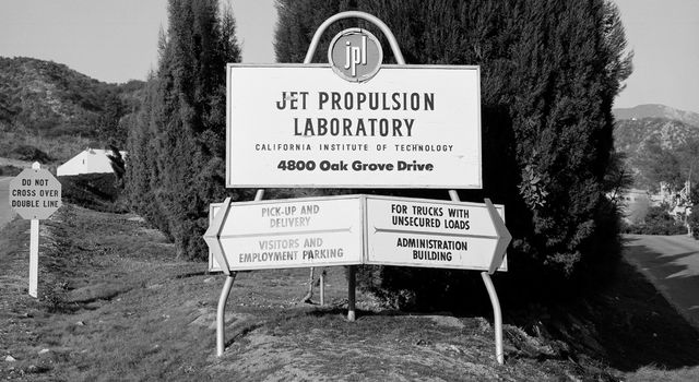 This is what greeted visitors to the Jet Propulsion Laboratory in December 1957.